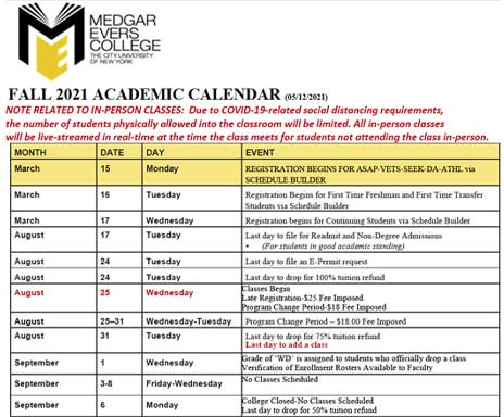 Link to open Academic Calendar PDF for Fall 2021