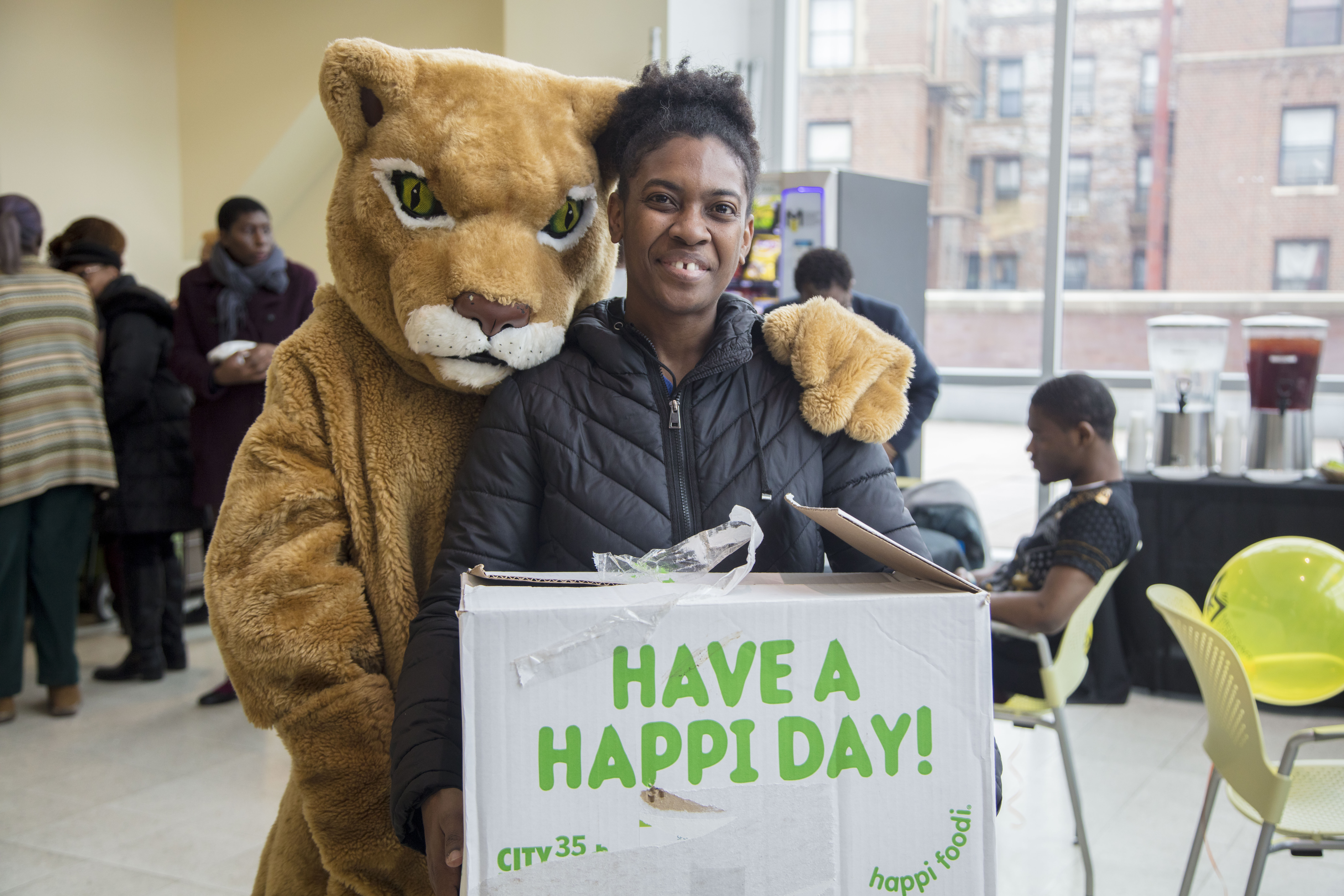Courgar and girl at Medgar Evers College