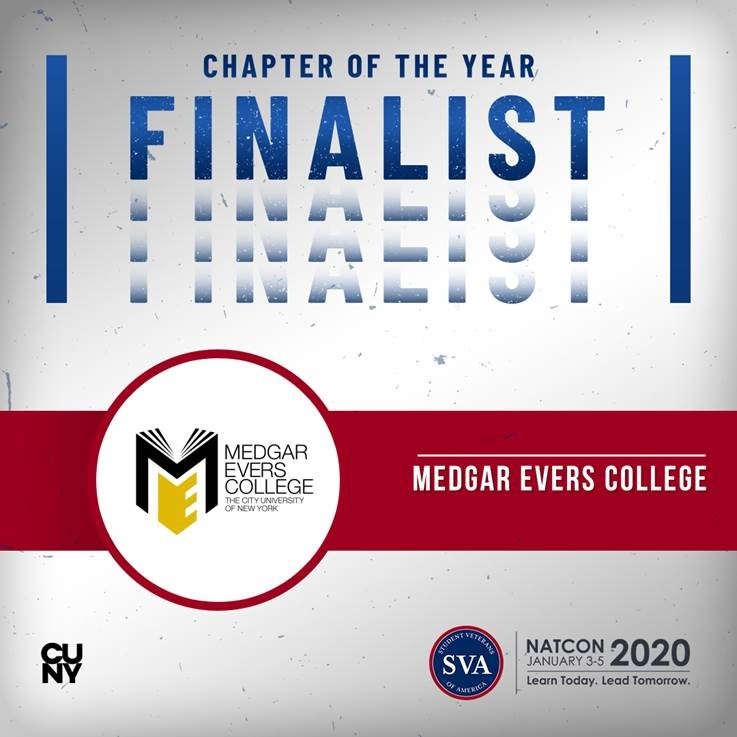 Medgar Evers College Office of Veteran and Military Service is one of the Student Veterans of America's Top 5 chapters for empowering students
