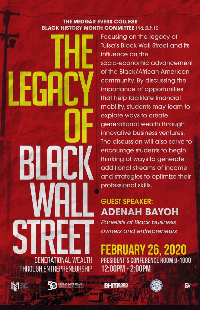 Flyer for Black Wall Street event
